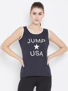 JUMP USA Women Navy Blue Printed Tank Top - JUMP USA