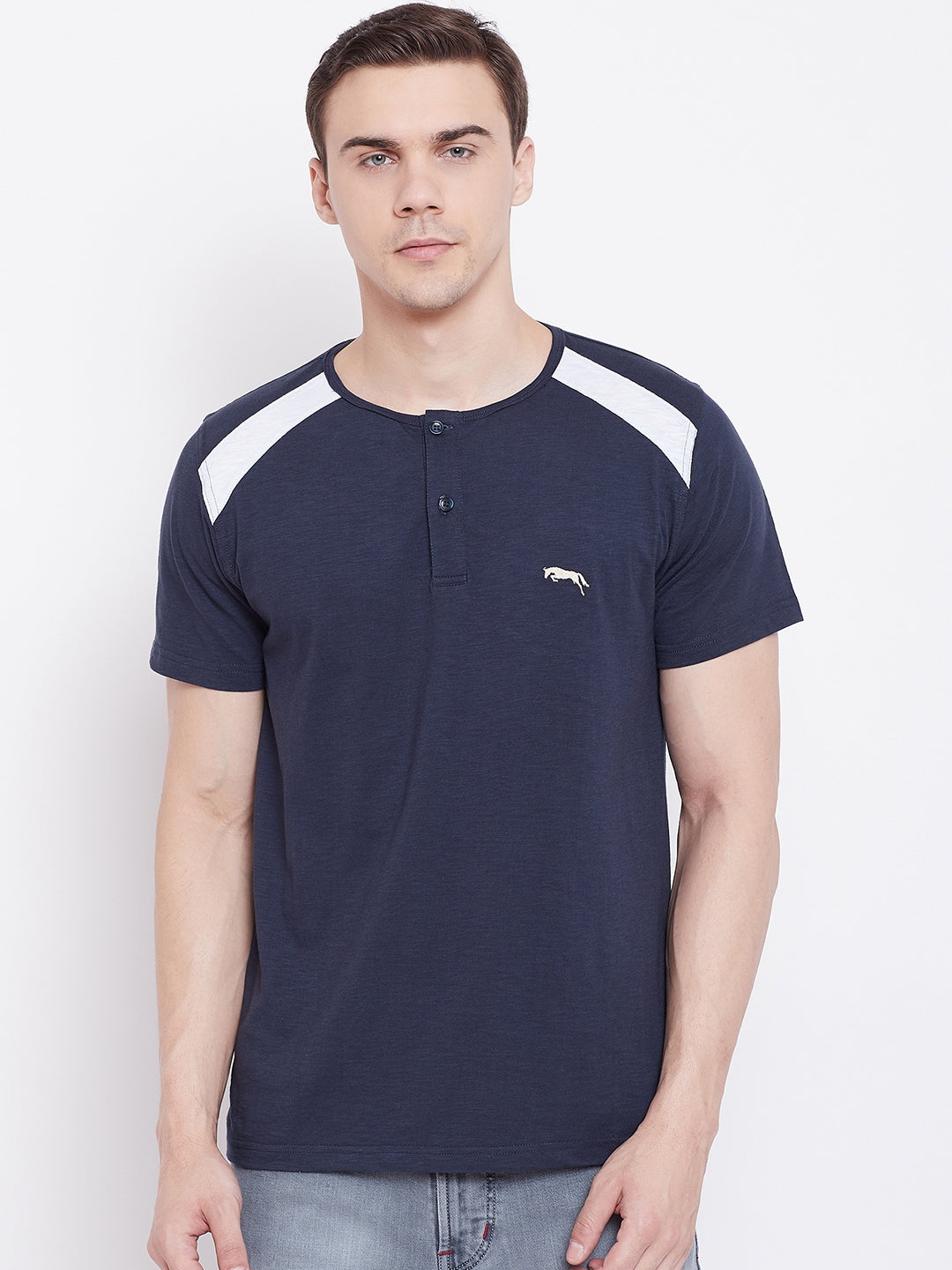 JUMP USA Men Navy Blue Solid Round Neck T-shirt - JUMP USA