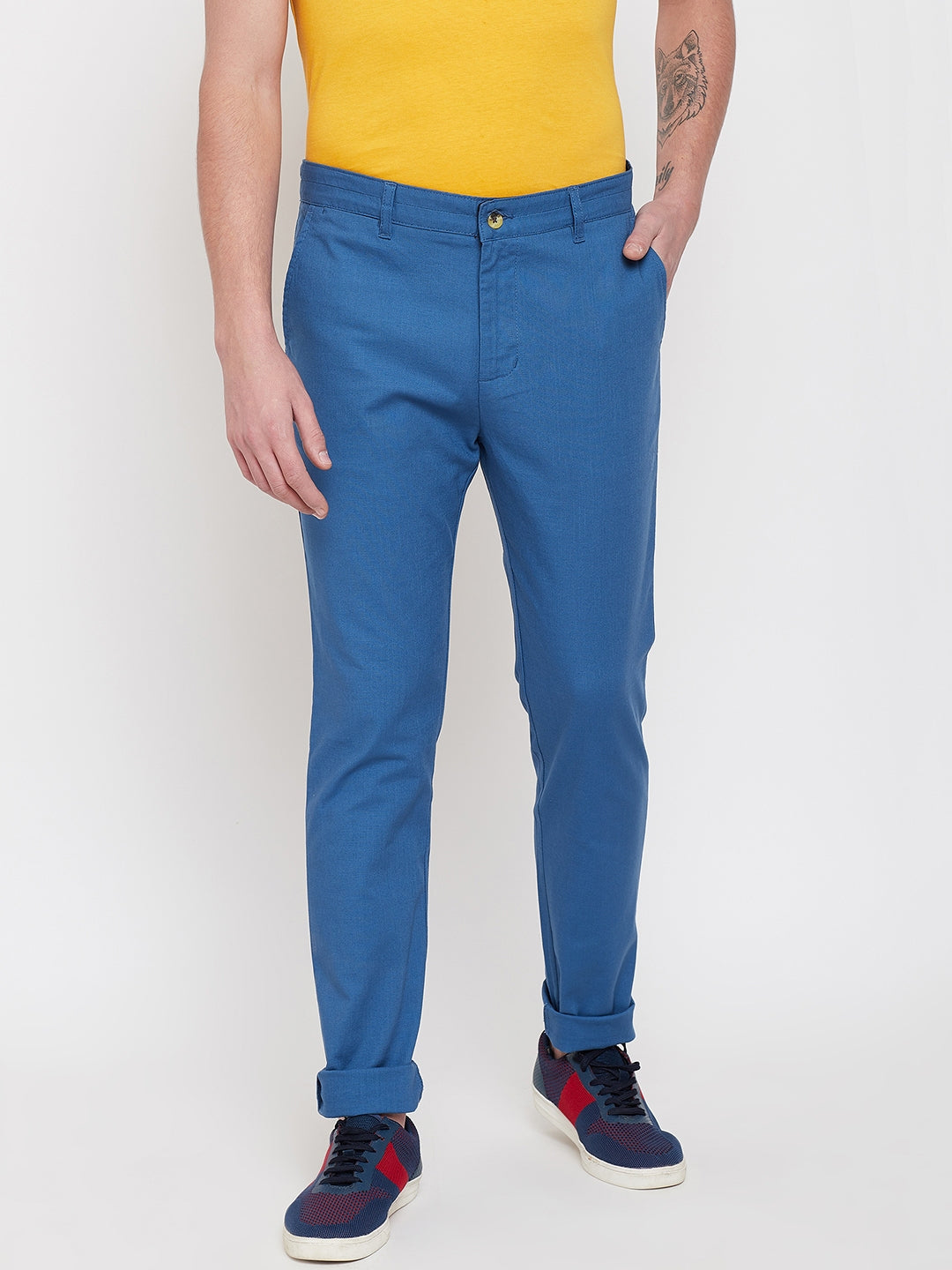 JUMP USA Men Blue Casual Slim Fit Trousers - JUMP USA