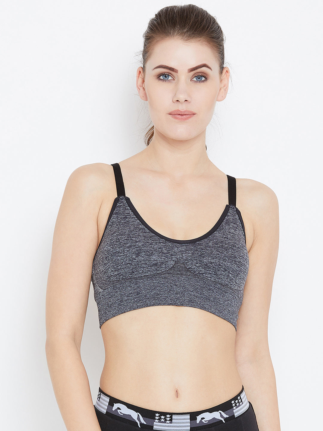 JUMP USA Women Black Non-Wired Lightly Padded Sports Bra - JUMP USA