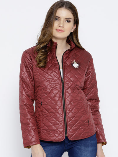 Women Red Quilted Jacket - JUMP USA