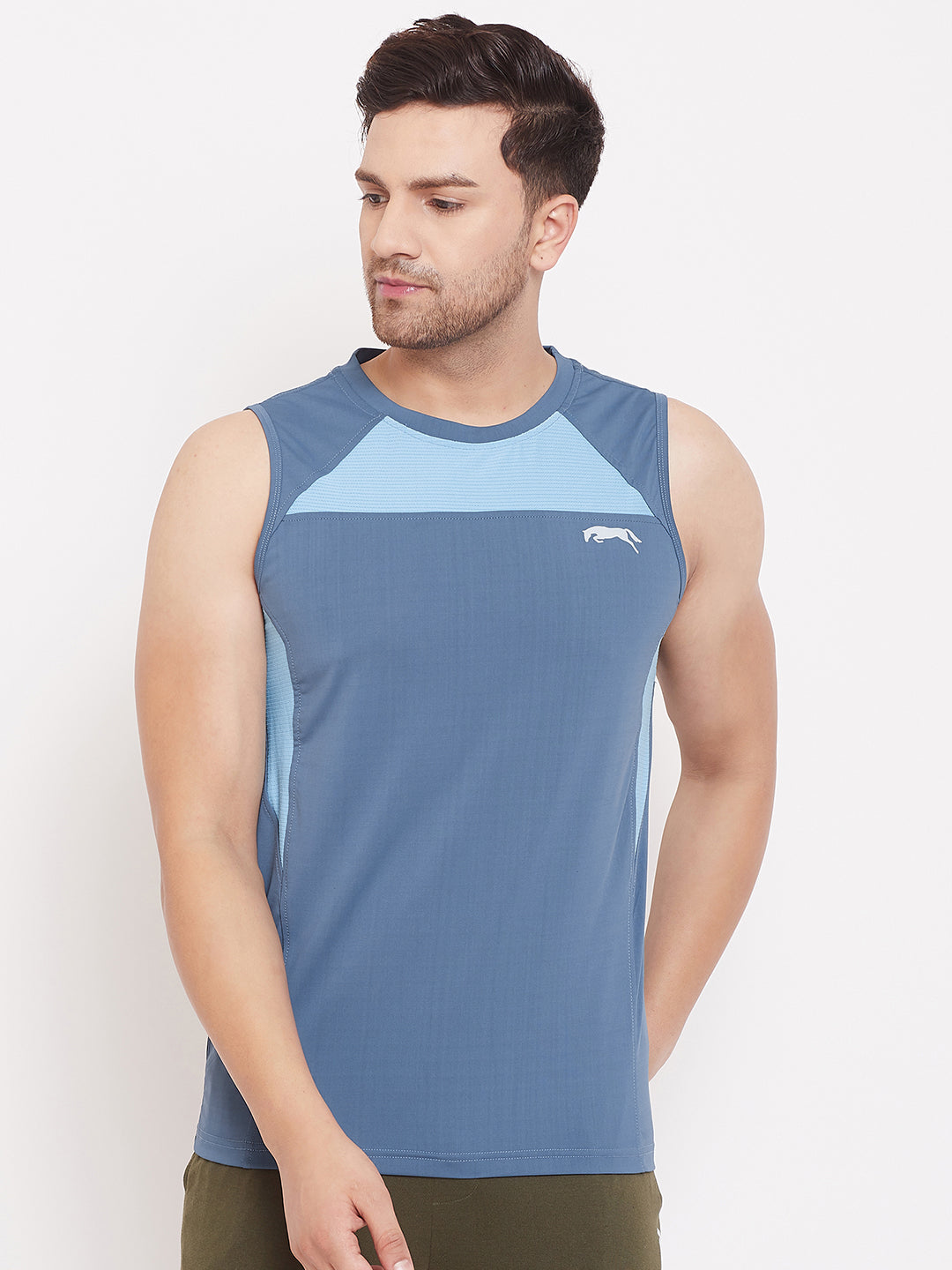 JUMP USA Men Solid Blue Sleeveless Training T-shirt