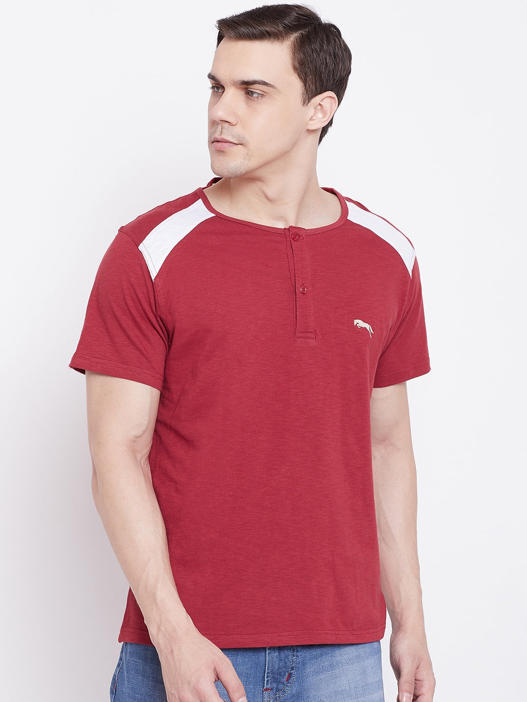 JUMP USA Men Red Solid Round Neck T-shirt