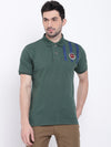 Men Casual Solid Green Polo Collar T-Shirt - JUMP USA