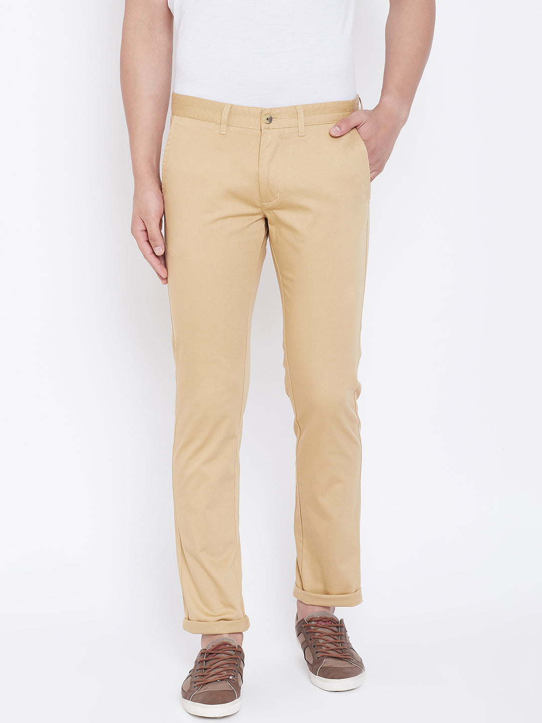 JUMP USA Men Camel Regular Fit Solid Trousers - JUMP USA