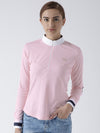 Women Pink Casual Polo Collar T-Shirt - JUMP USA