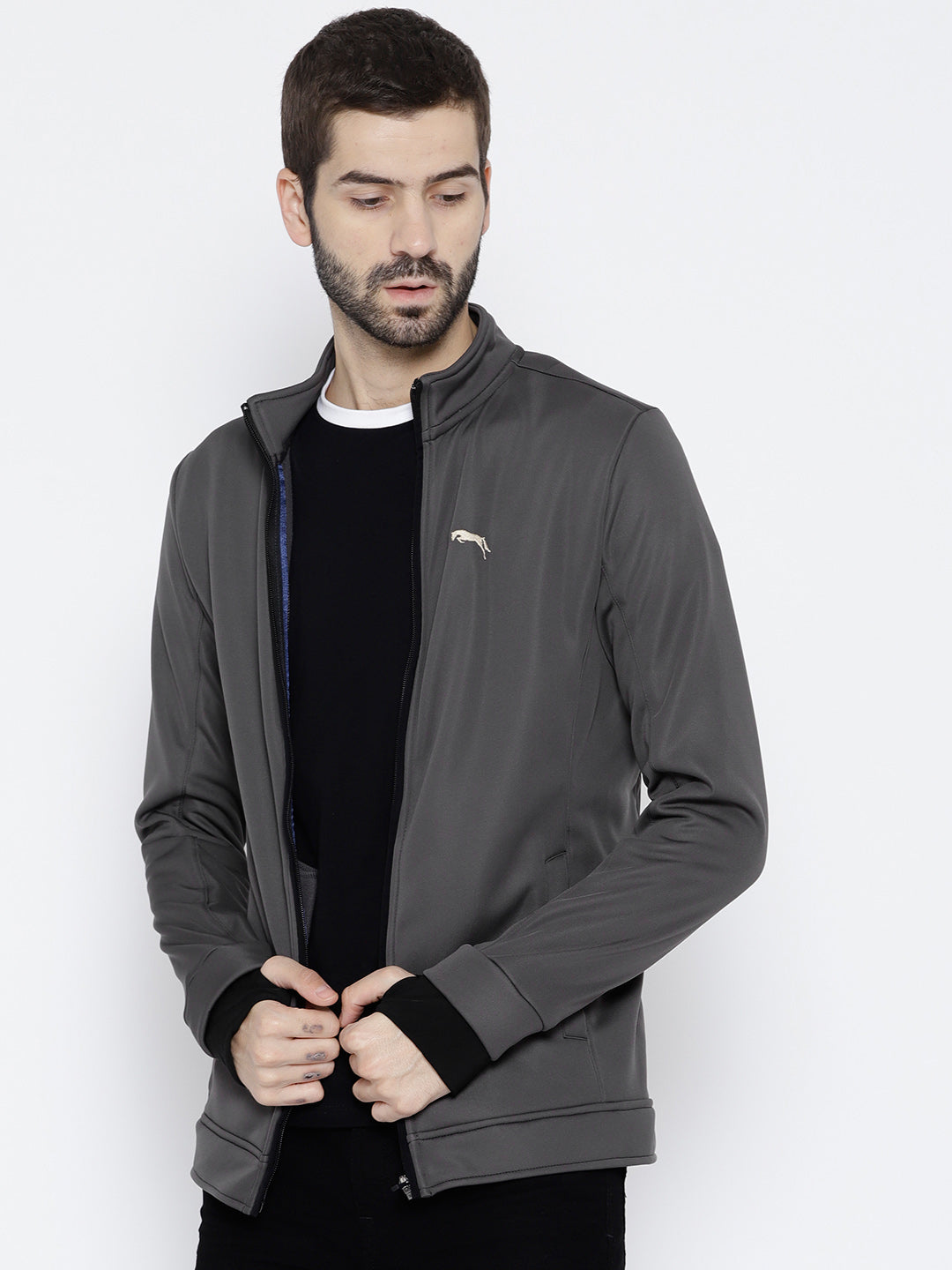 Men Charcoal Solid Open Front Jacket