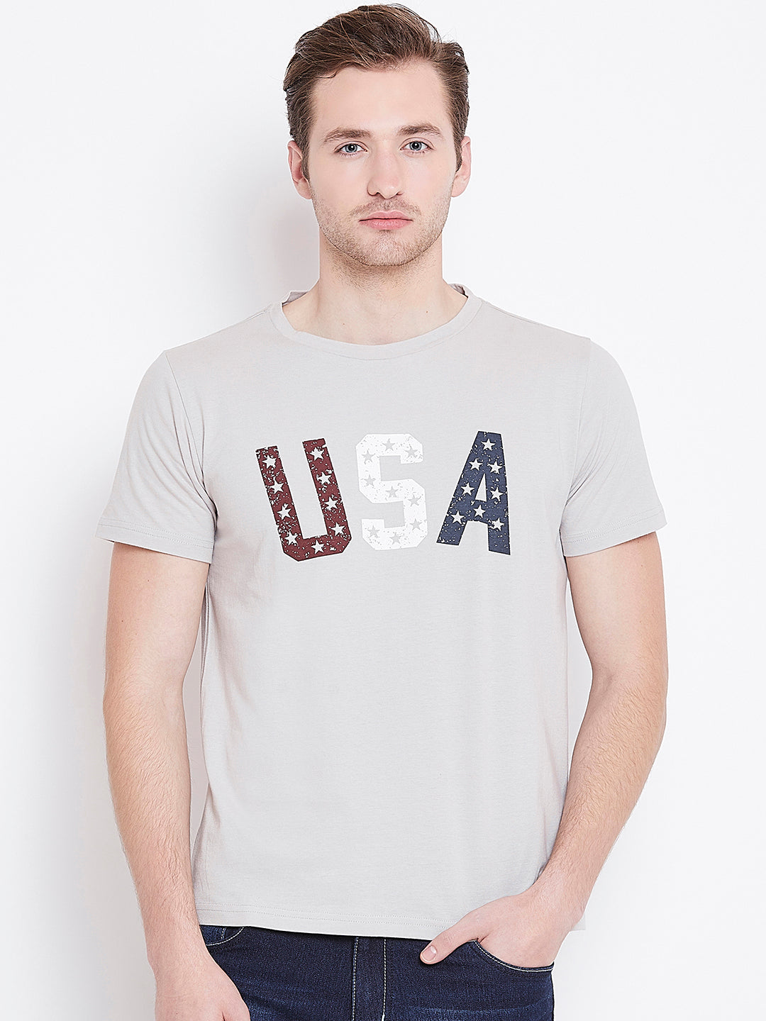 Men Grey Printed Casual T-shirt - JUMP USA