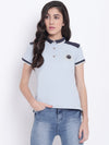Women Blue Casual Polo Collar T-Shirt - JUMP USA
