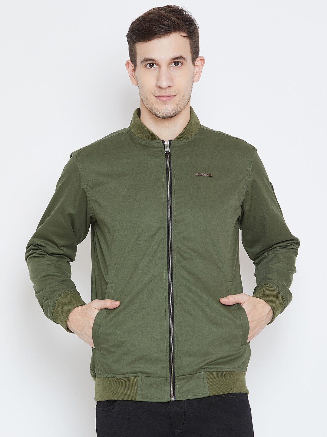 3283a10300c Men Casual Olive Bomber Jacket - JUMP USA