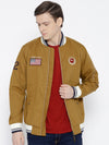 Men Khaki Solid Bomber Jacket - JUMP USA