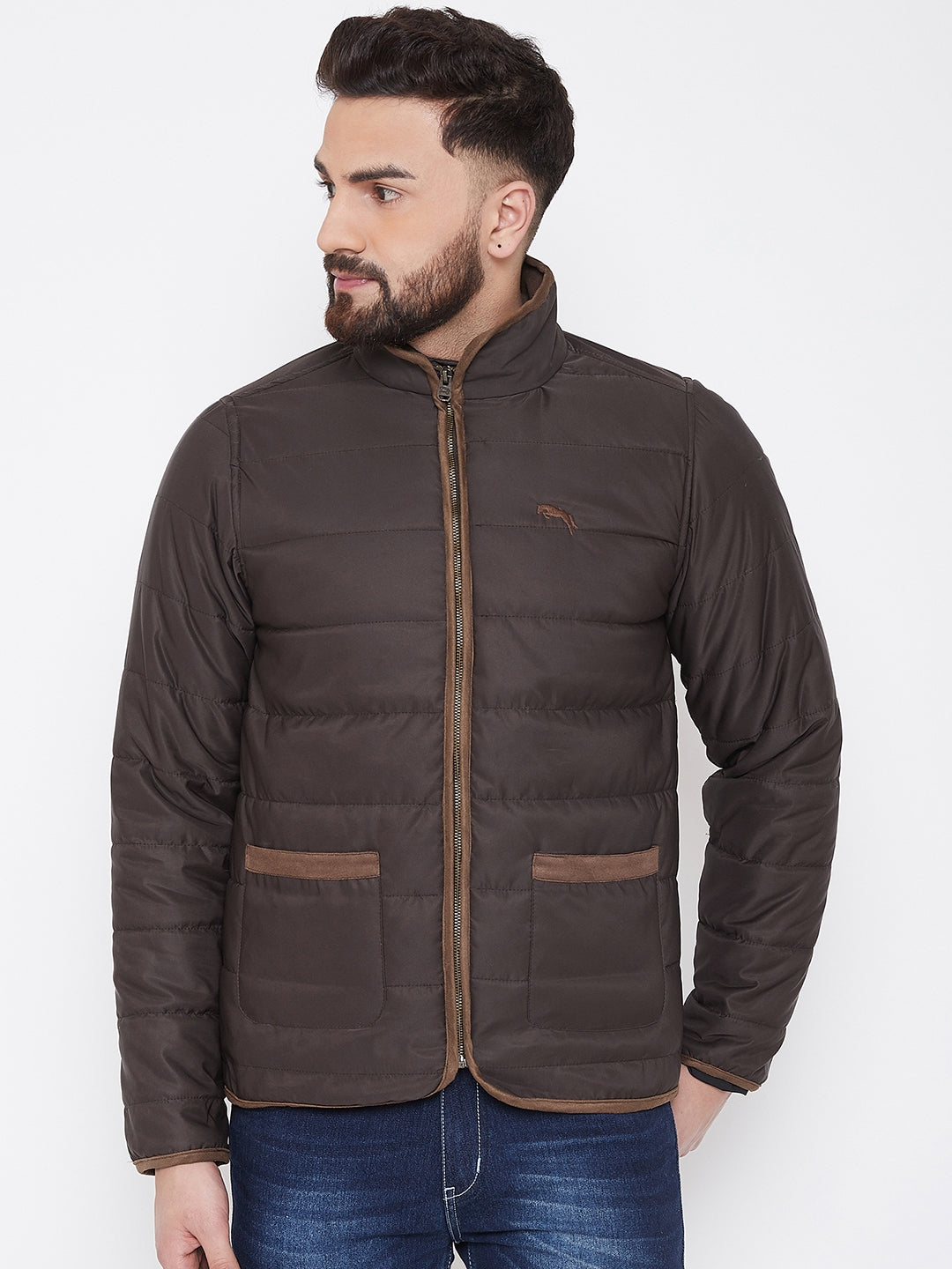 JUMP USA Men Coffee Solid Casual Quilted Jacket - JUMP USA