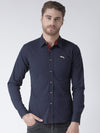 Men Navy Blue Solid Cotton Regular Fit Shirt - JUMP USA