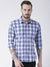 Men Navy Blue Checked Cotton Slim Fit Shirt