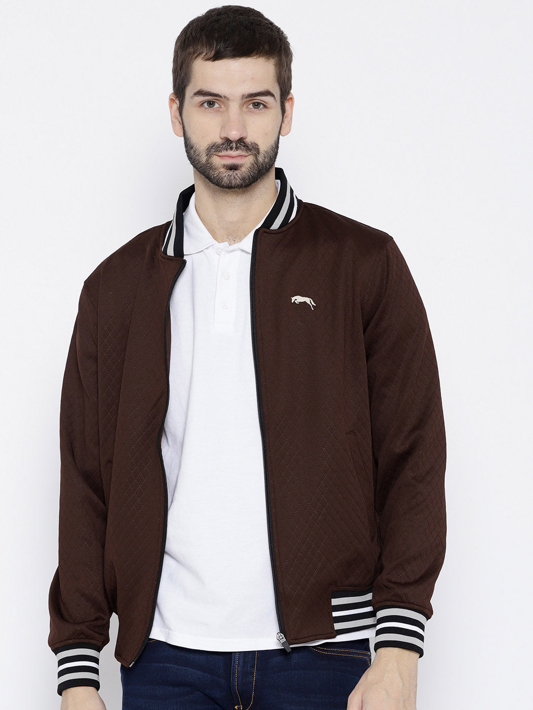 Men Maroon self Design Jacket - JUMP USA