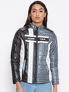 JUMP USA Women Grey Colourblocked Bomber Jacket - JUMP USA