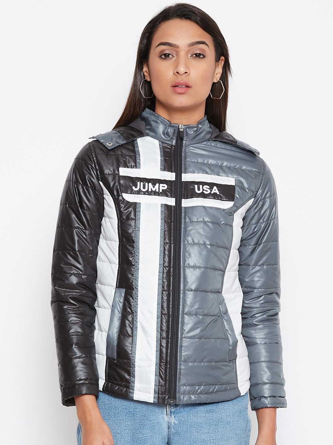 JUMP USA Women Grey Colourblocked Bomber Jacket