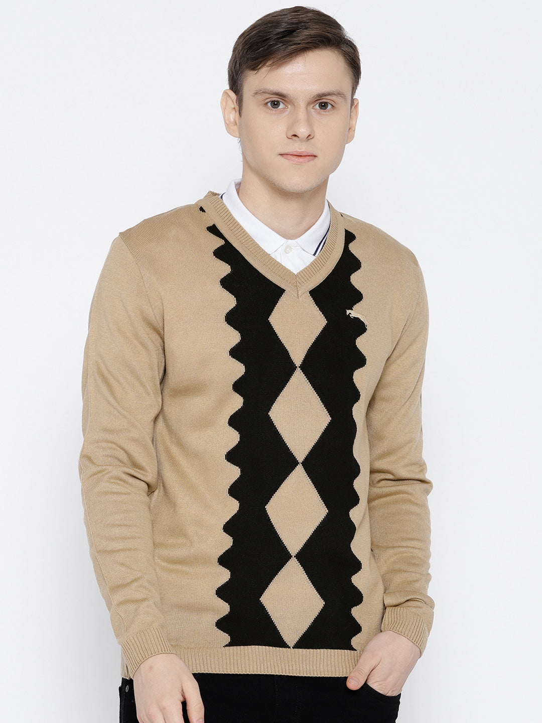 Men Beige Colourblocked Pullover - JUMP USA