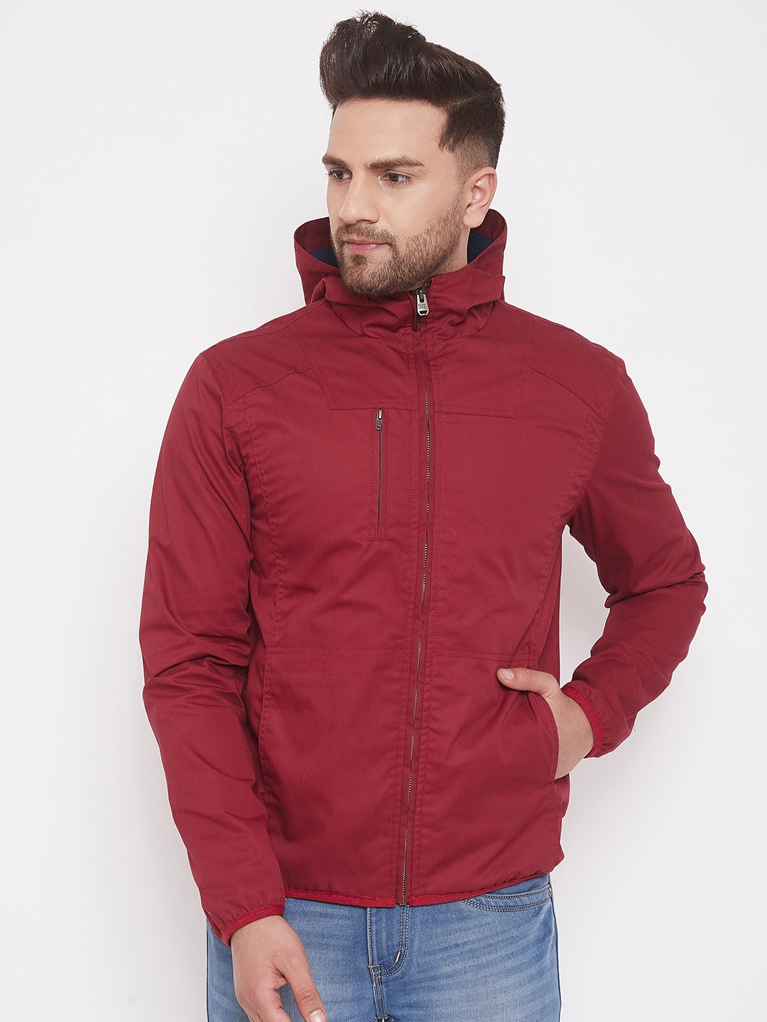 JUMP USA Mens Solid Red Hood Tailored Jacket