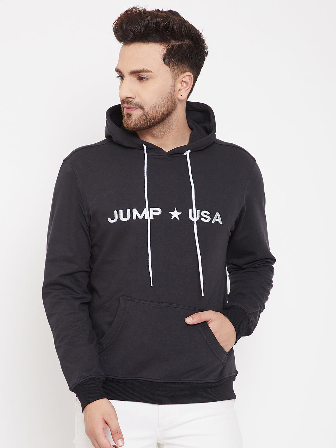 JUMP USA Men Solid Hooded Sweatshirt