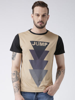 JUMP USA Men Beige Graphic Round Neck T-shirt - Jump USA