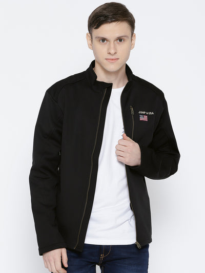 Men Black Solid Jacket - JUMP USA