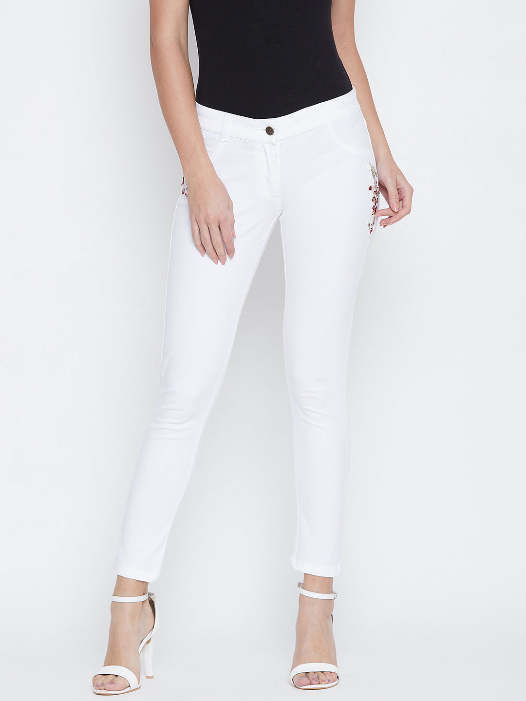 JUMP USA Women White Embroidered Skinny Fit Trousers
