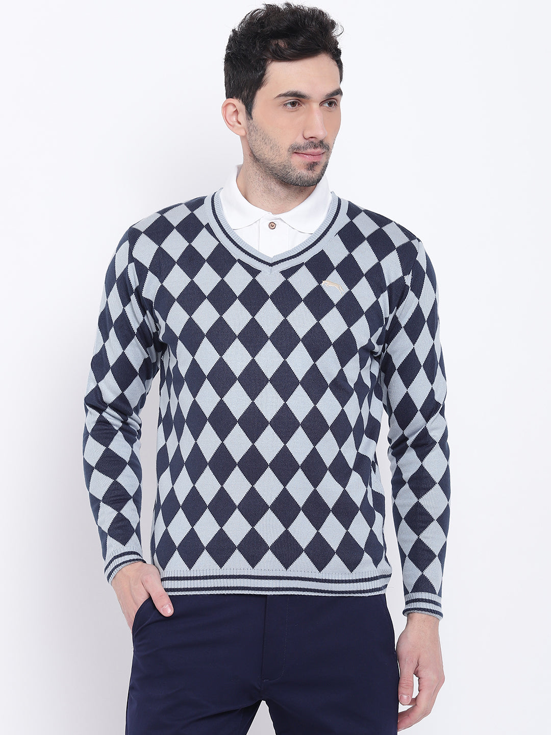Men Casual Colourblocked Blue Sweaters