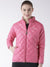 Women Polyster Casual Long Sleeve  Pink Winter Jacket