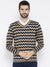 Men Navy Blue Colourblocked Pullover