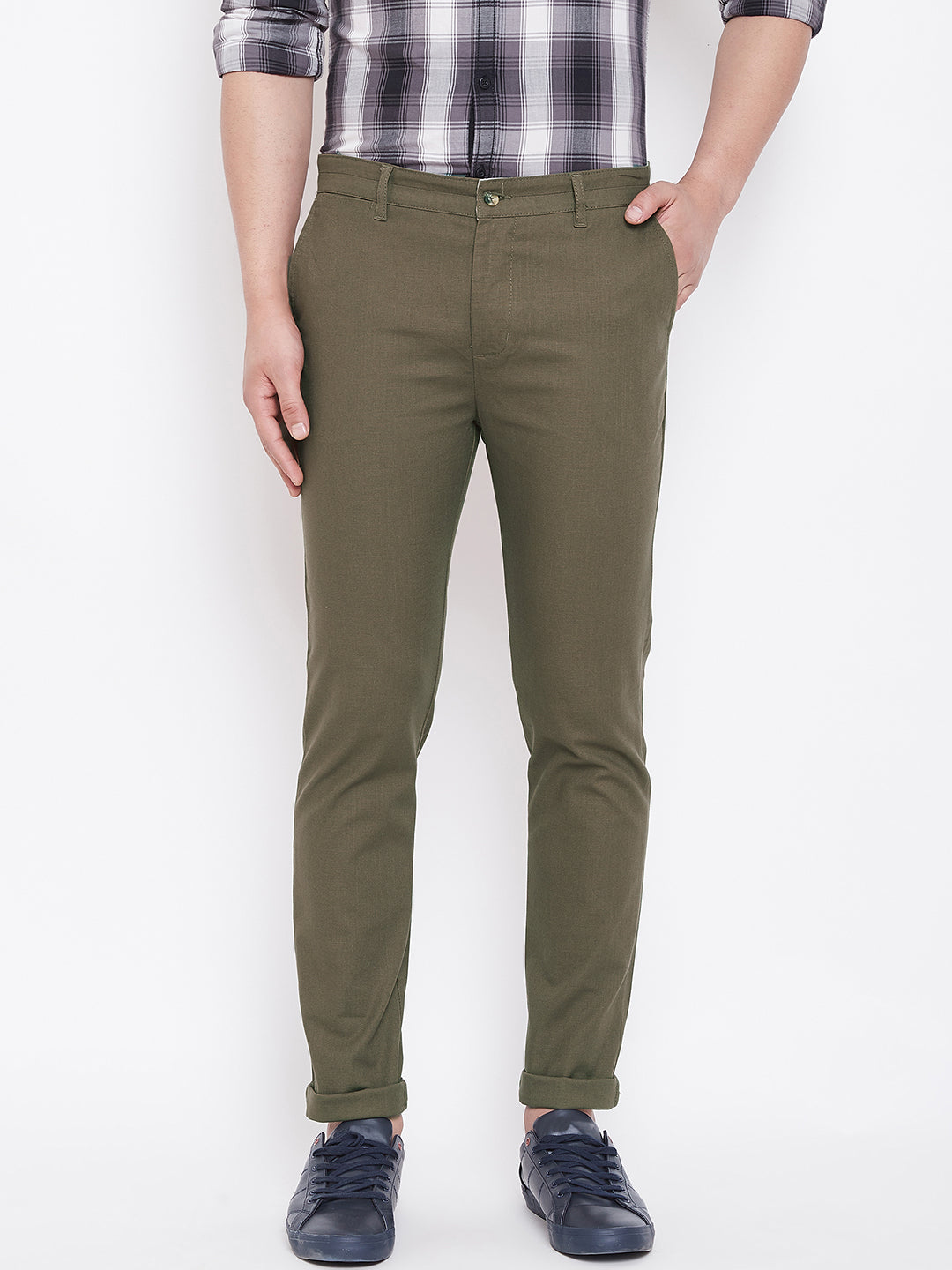 JUMP USA Men Olive Casual Slim Fit Trousers - JUMP USA