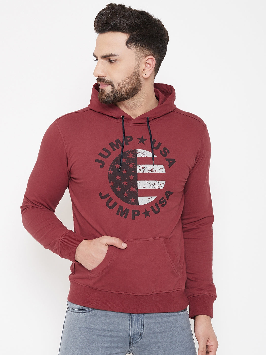 JUMP USA Men Red Self Design Hooded Pullover Sweatshirt - JUMP USA