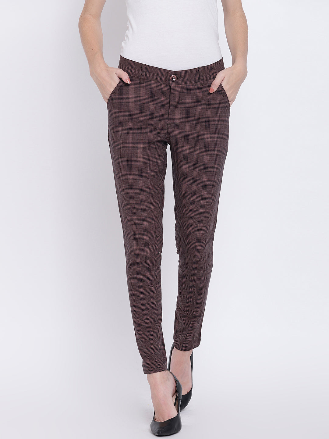 Women Coffee Brown Casual Trousers