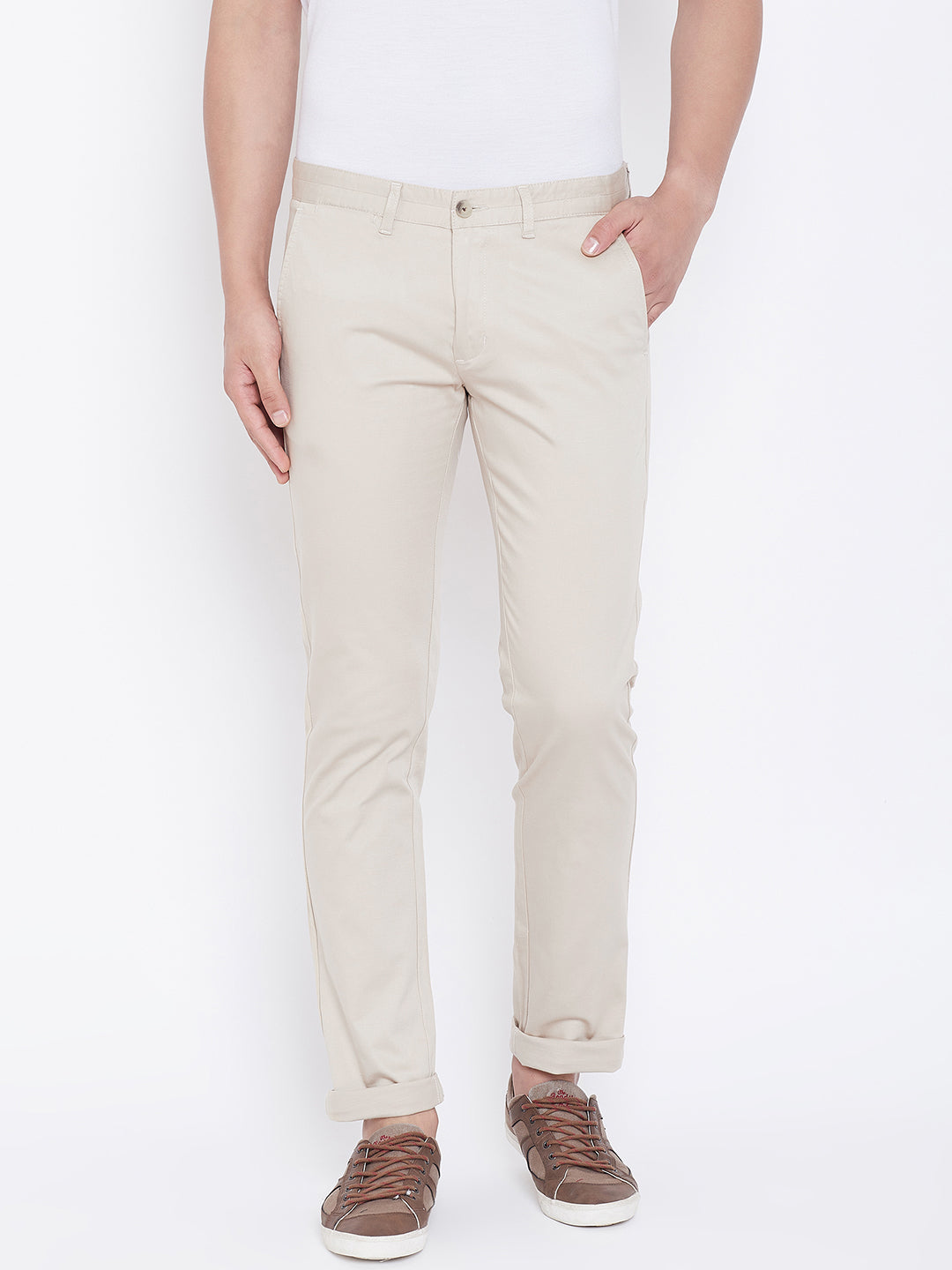 JUMP USA Men Cream Regular Fit Solid Trousers - JUMP USA
