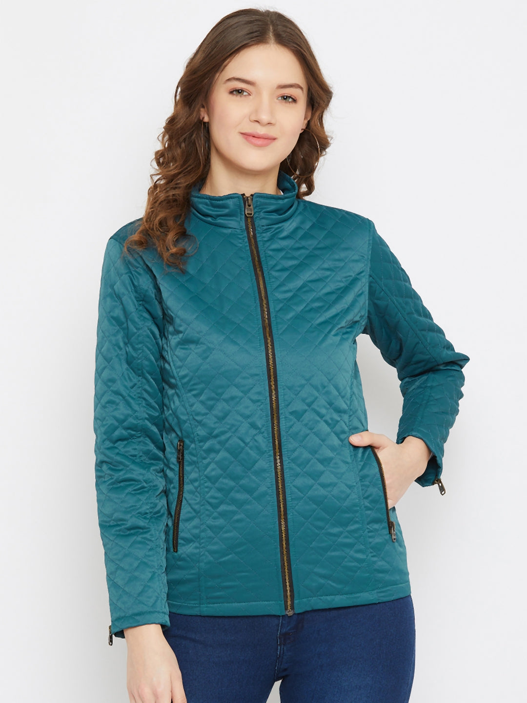 JUMP USA Women Blue Solid Lightweight Quilted Jacket