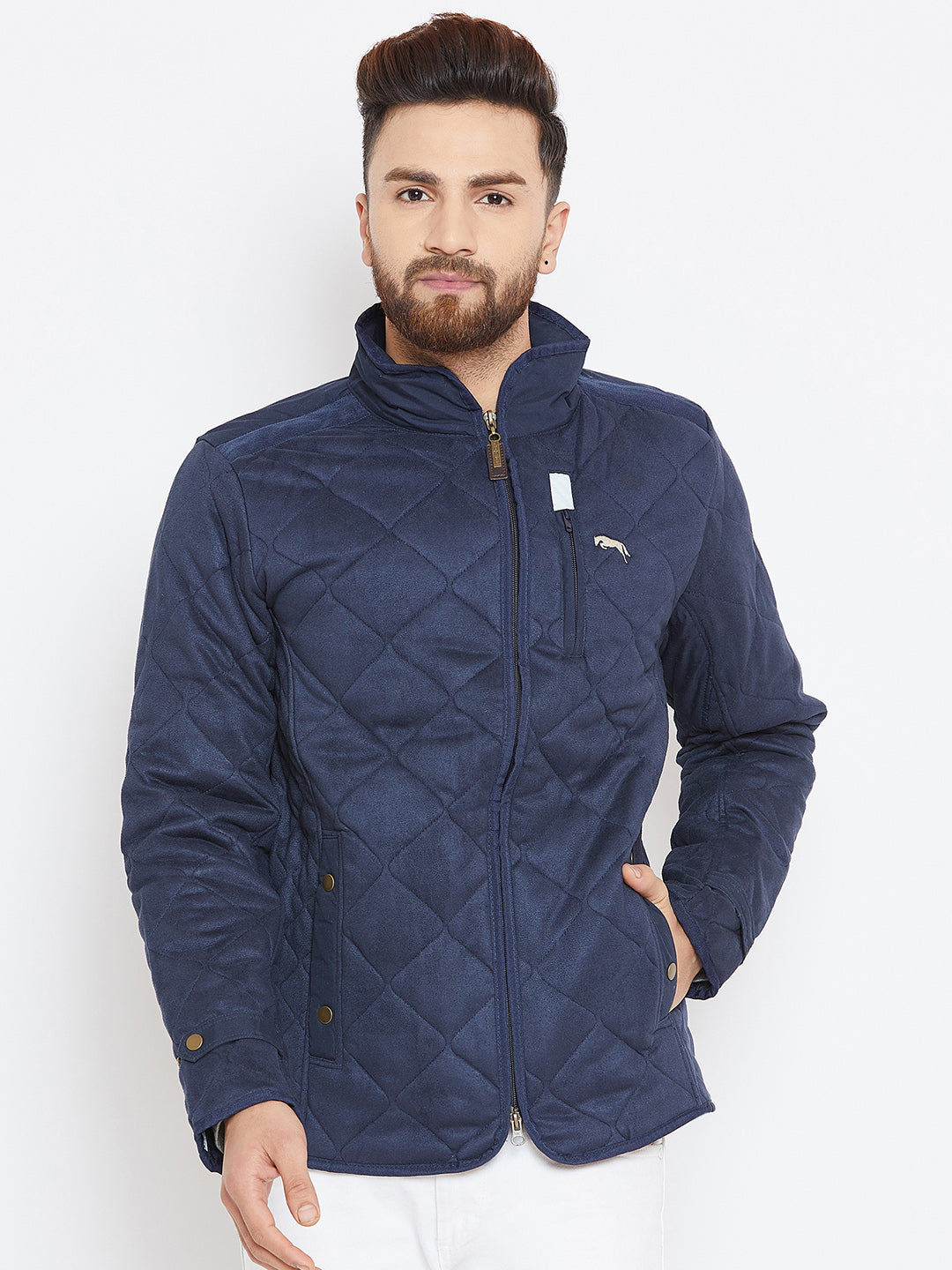Men Navy Blue Solid Quilted Jacket
