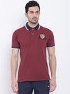 Men Casual Solid Red Polo Collar T-Shirt - JUMP USA