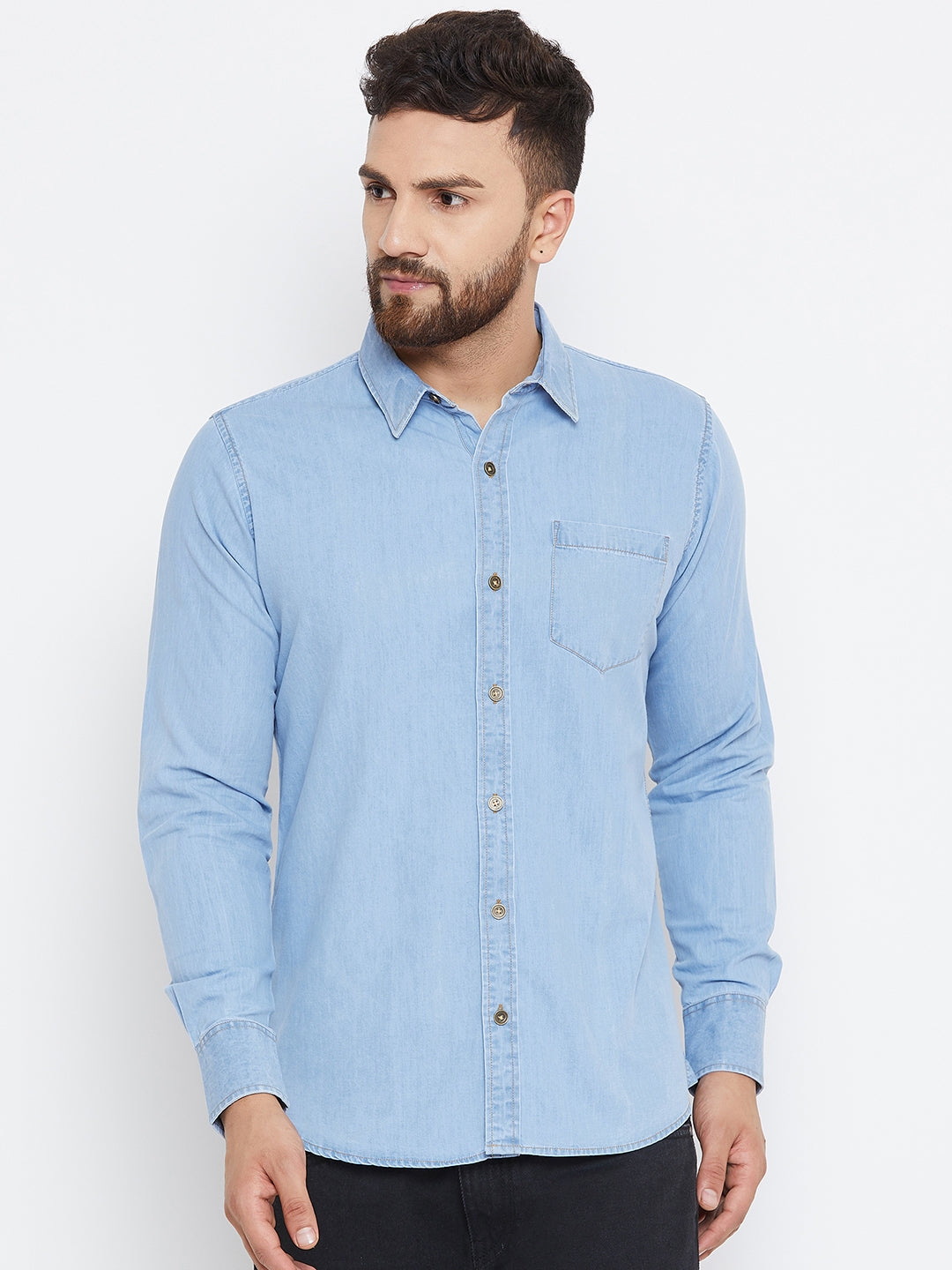 Men Blue Washed Regular Fit Casual Shirt