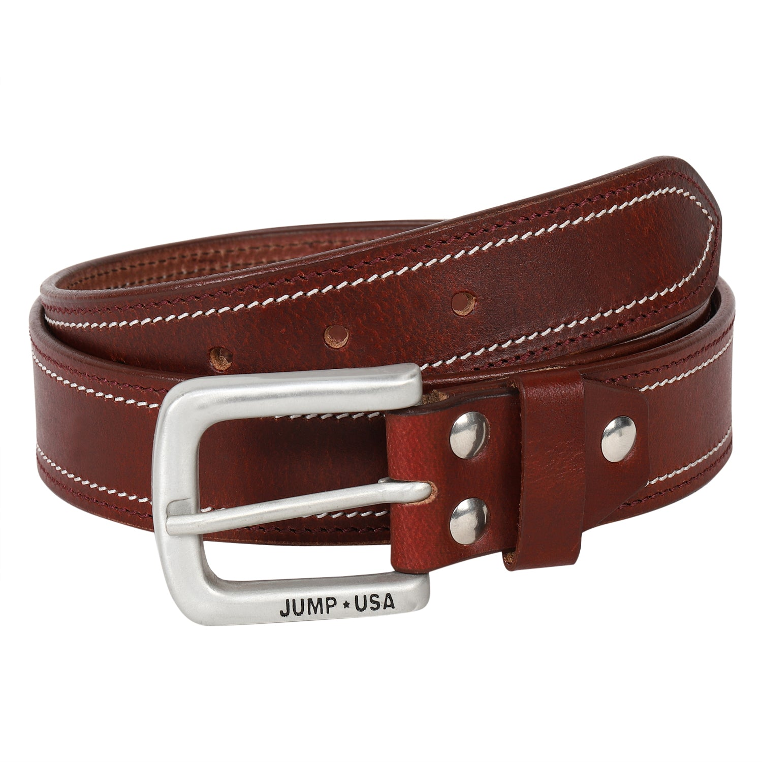 Men Leather Brown Belts With Metal Buckle
