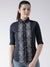 Women Navy Blue Regular Fit Printed Casual Shirt