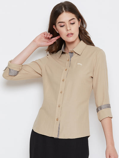 Women Beige Solid Casual Slim Fit Shirt - JUMP USA