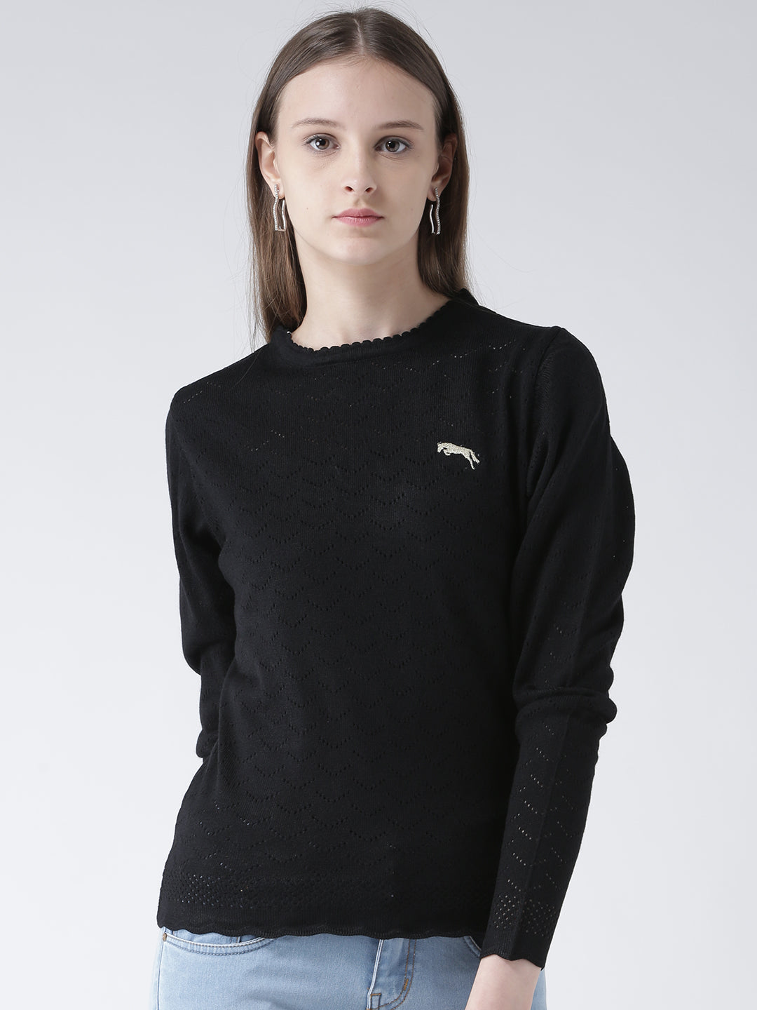 Women Black Self Design Pullover