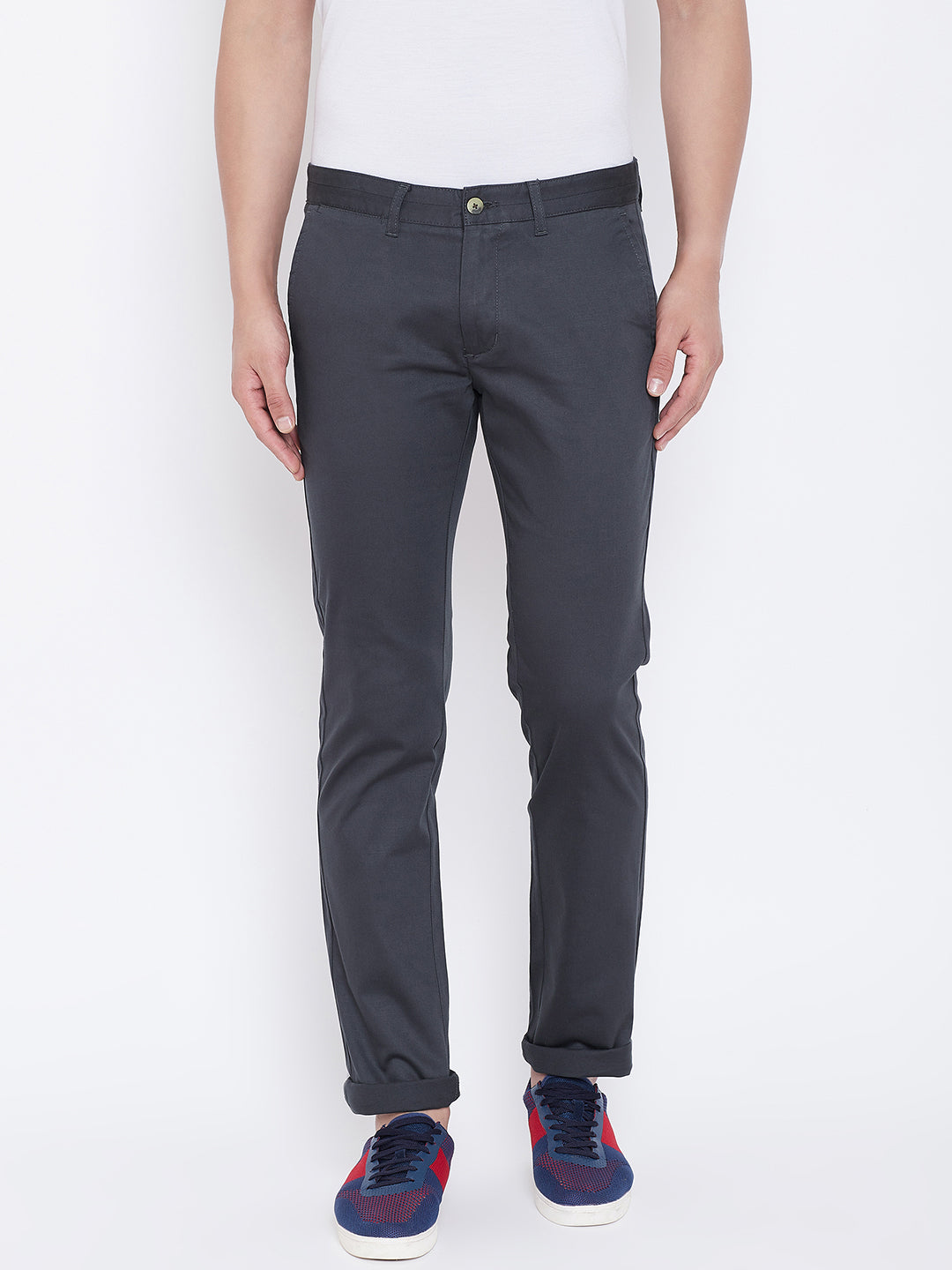 JUMP USA Men Charcoal Regular Fit Solid Trousers - JUMP USA