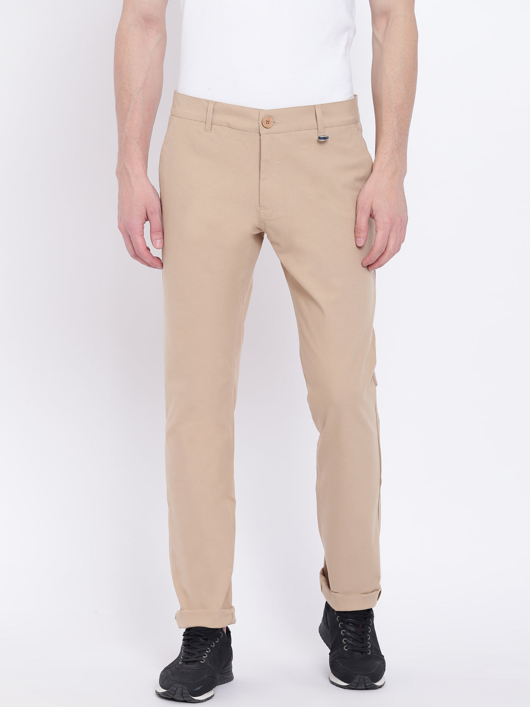 Men Casual Solid Beige Chinos - JUMP USA