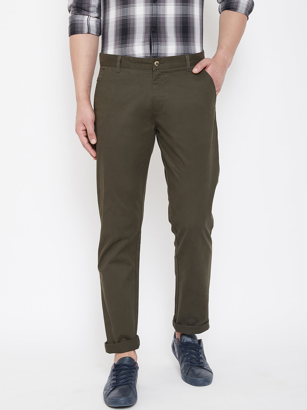 JUMP USA Men Olive Casual Regular Fit Trousers