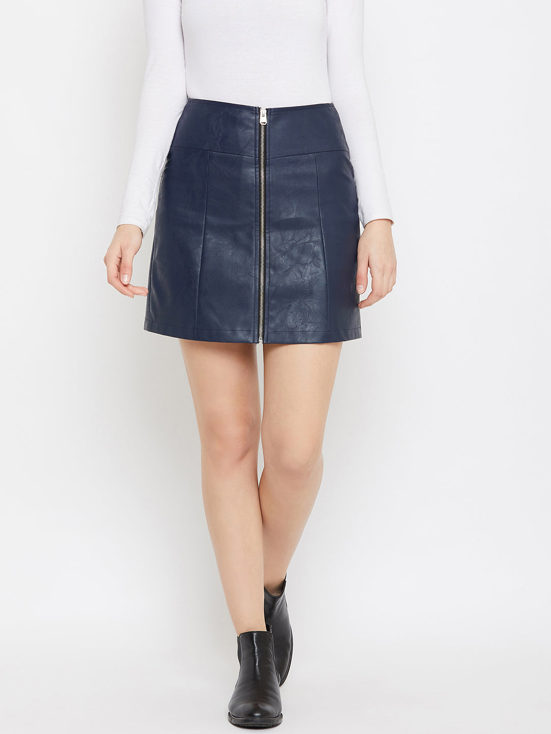 JUMP USA Women Navy Blue Solid Mini Pencil Skirt
