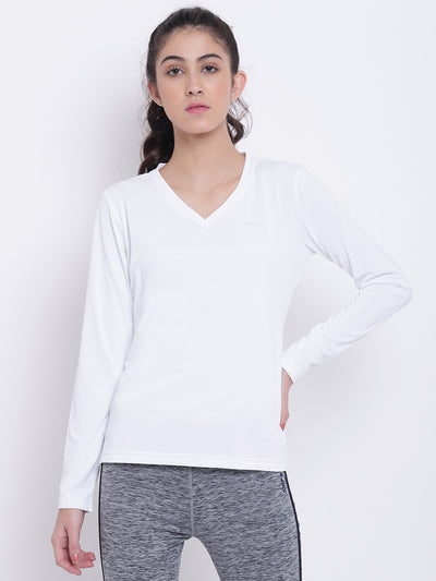 Women White Casual T-shirt - JUMP USA