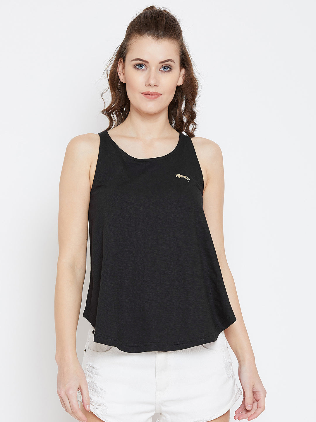 JUMP USA Women Black Solid Tank Top - JUMP USA