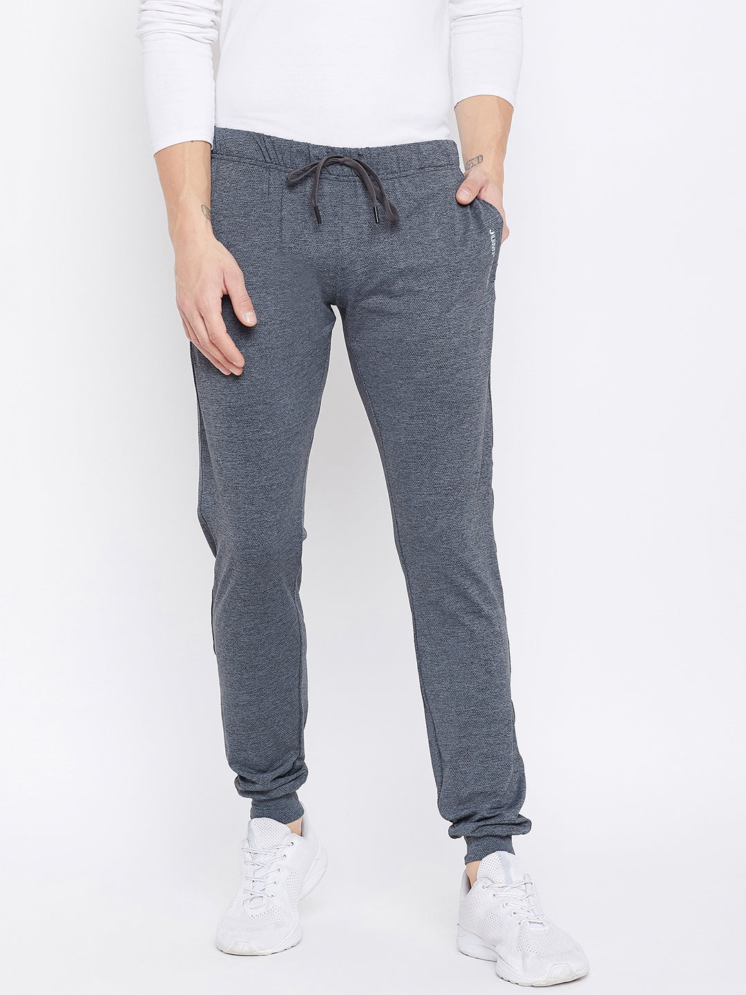 JUMP USA Men Slim Fit  Grey Solid Active Wear Joggers