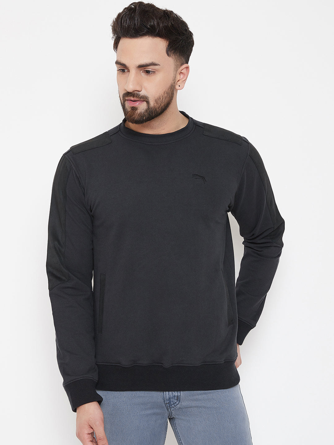 JUMP USA Men Black Solid Pullover Sweatshirt